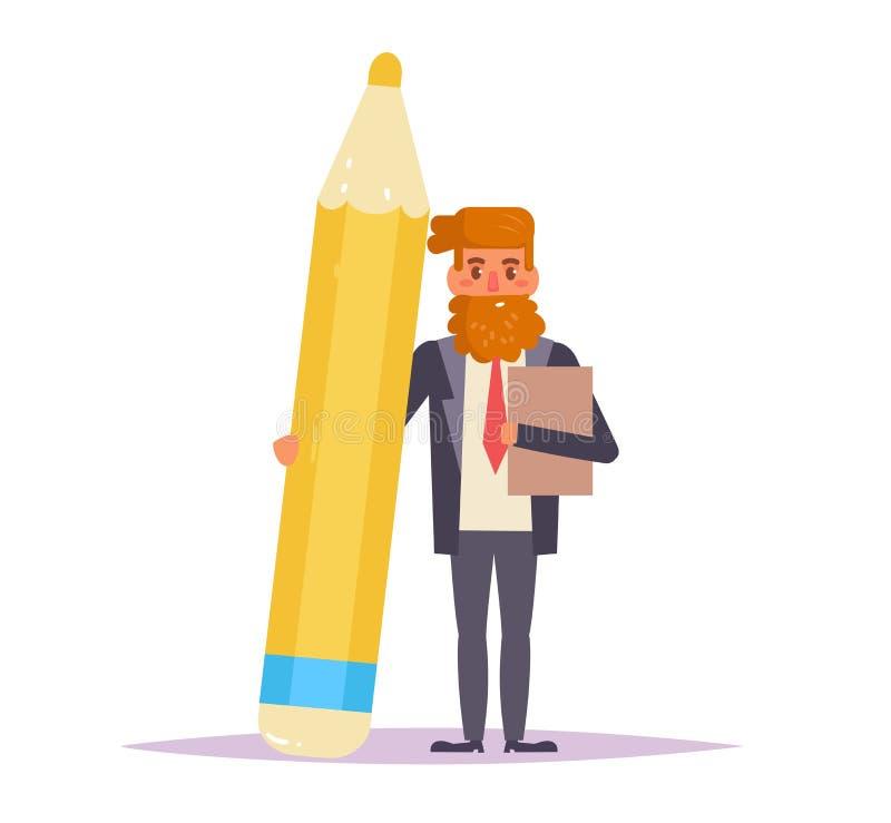 Homme d'affaires avec le crayon Vecteur illustration stock