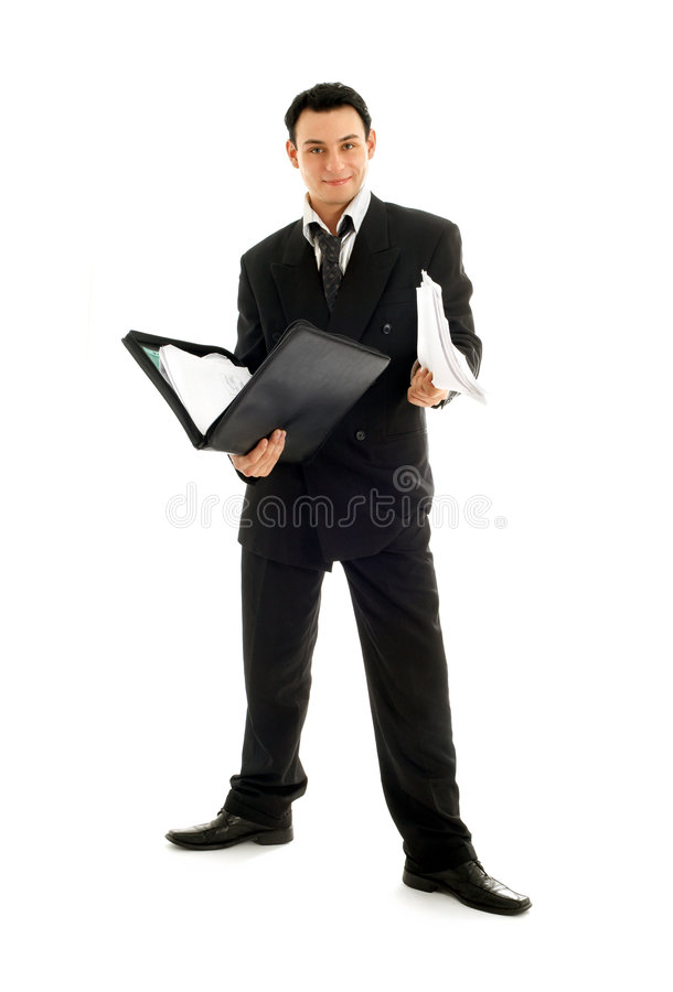 Homme d'affaires avec le dépliant photo libre de droits