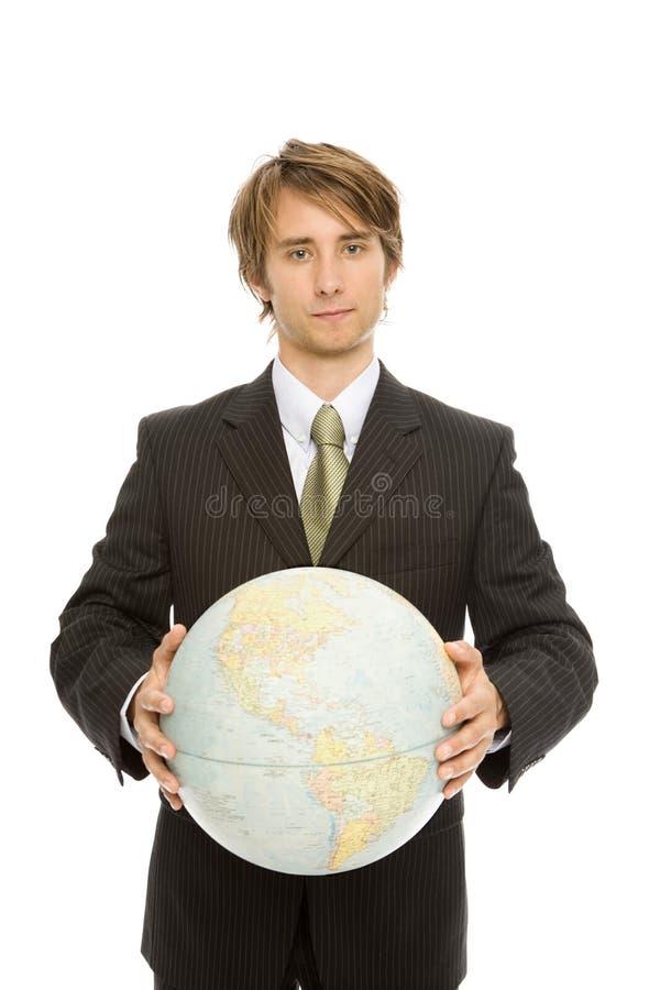 Homme d'affaires avec le globe photos libres de droits