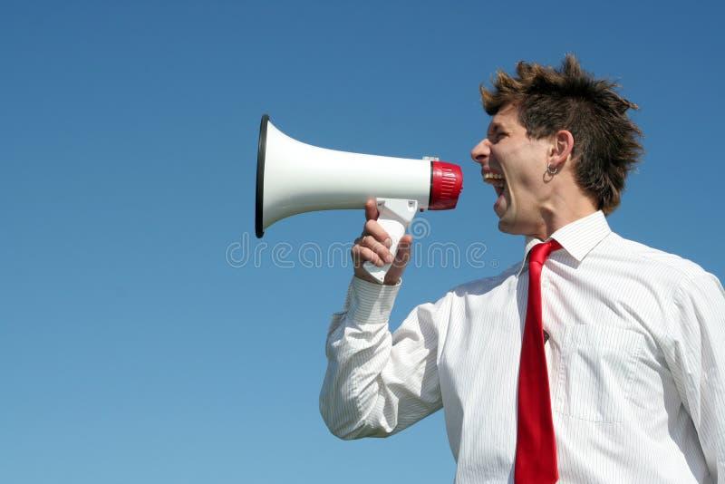 Homme d'affaires avec le mégaphone photos libres de droits