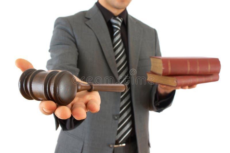 Homme d'affaires avec le marteau photos stock