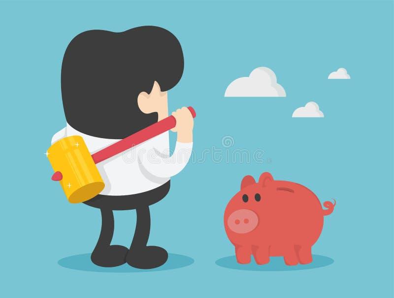 homme d'affaires avec le marteau dans le sien main prête à heurter l'interdiction porcine illustration libre de droits