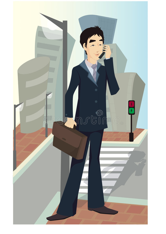 Homme d'affaires avec le mobile illustration libre de droits