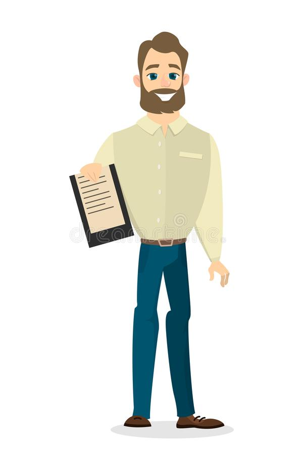 Homme d'affaires avec le papier illustration stock