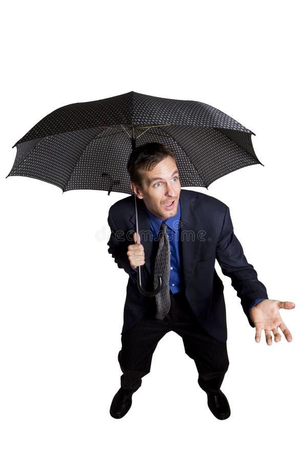 Homme d'affaires avec le parapluie photo stock
