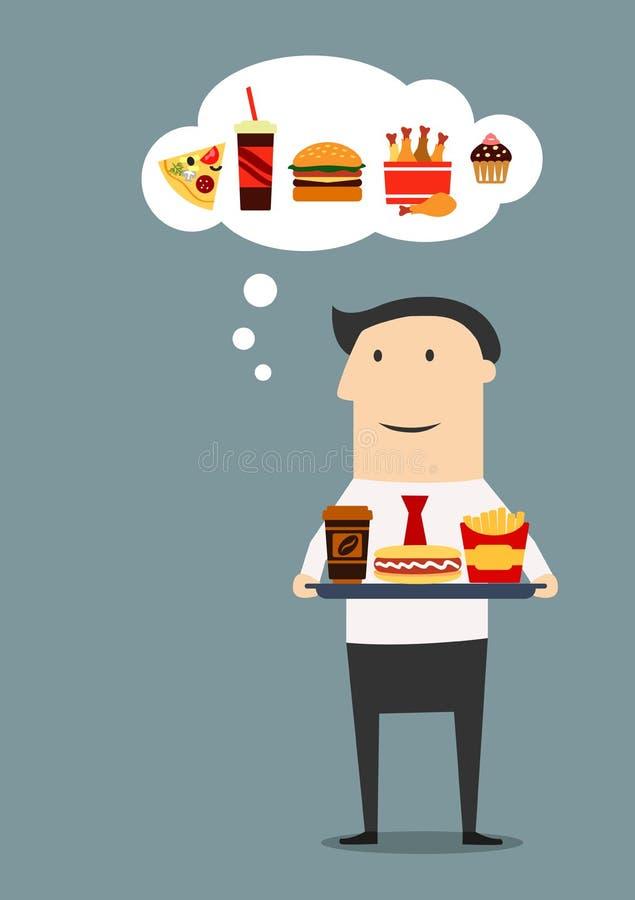 Homme d'affaires avec le plateau des aliments de préparation rapide illustration de vecteur