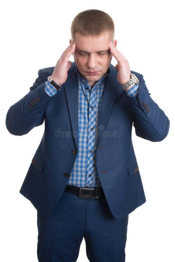 Homme d'affaires avec le portrait de plan rapproché de mal de tête photographie stock