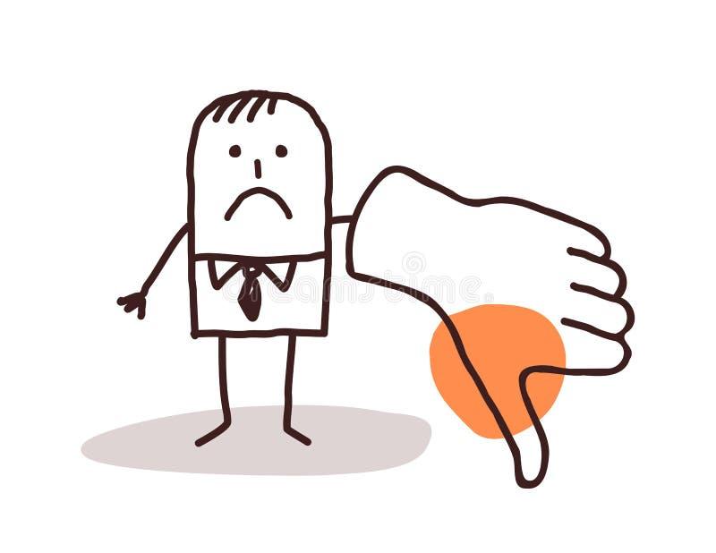 Homme d'affaires avec le pouce vers le bas illustration stock