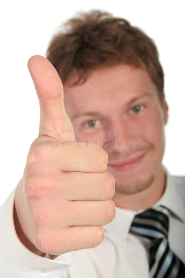 Homme d'affaires avec le pouce vers le haut photo stock