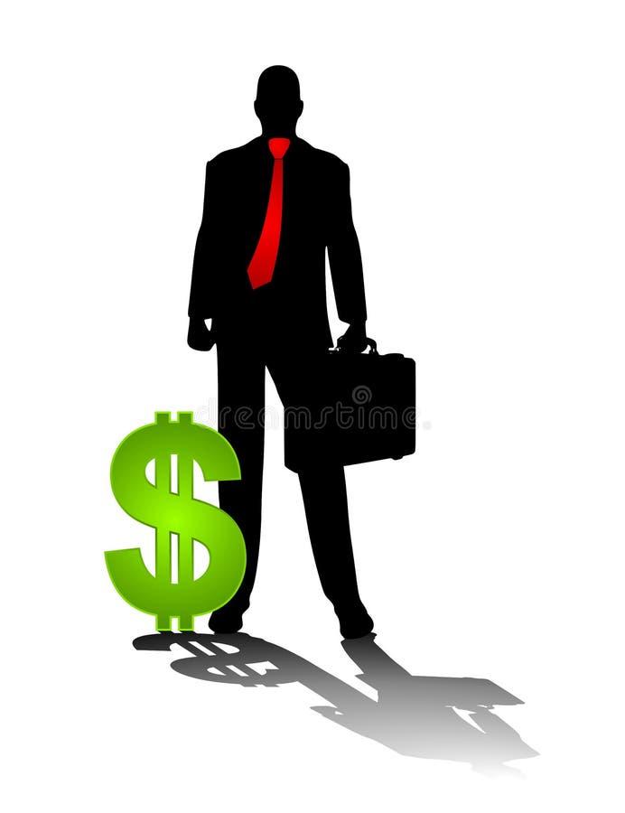 Homme d'affaires avec le signe du dollar illustration stock