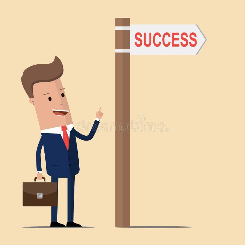 Homme d'affaires avec le succès directionnel de signe et de mot Illustration de vecteur illustration de vecteur