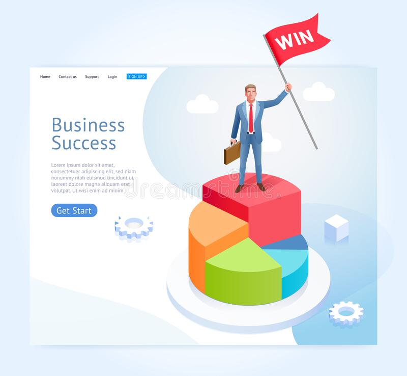 Homme d'affaires avec le support d'alerte sur le graphique circulaire infographic illustration libre de droits