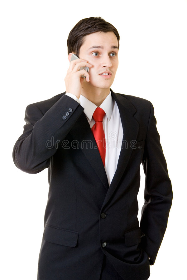 Homme d'affaires avec le téléphone mobile photo libre de droits