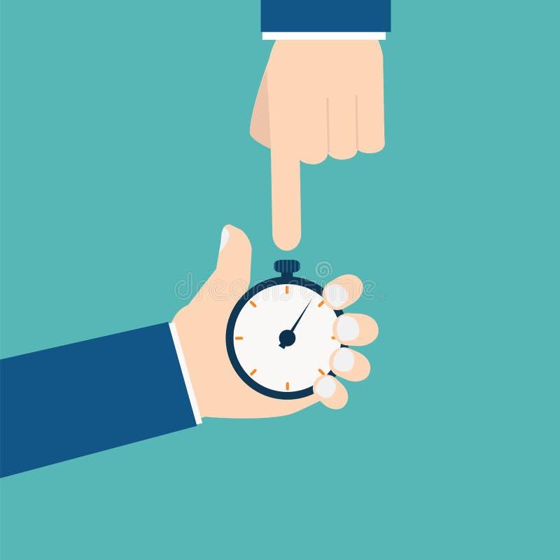 Homme d'affaires avec le vecteur de chronomètre photographie stock libre de droits