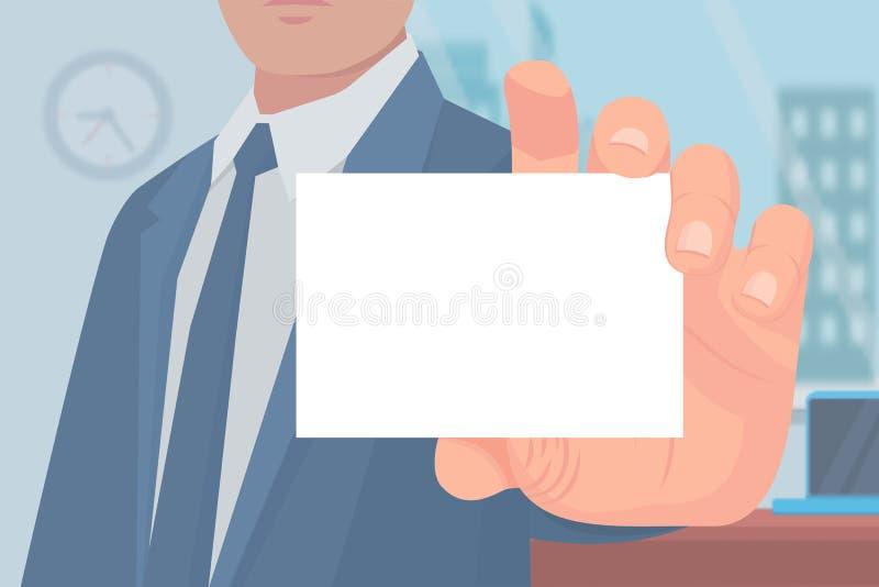 Homme d'affaires avec le vecteur vide de page de carte de visite professionnelle de visite illustration libre de droits
