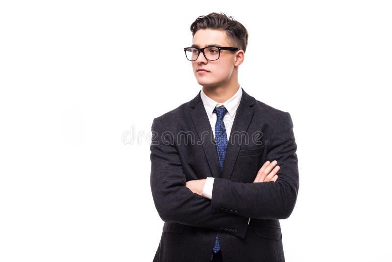 Homme d'affaires avec les mains croisées sur le fond blanc photo libre de droits