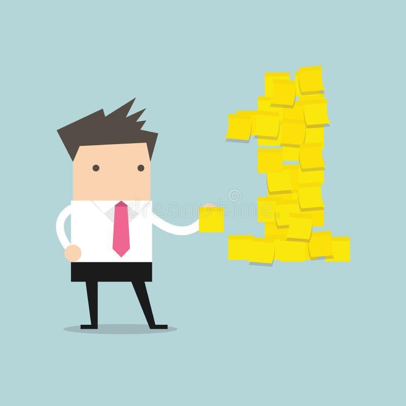 Homme d'affaires avec les notes collantes jaunes du numéro un Vecteur illustration libre de droits