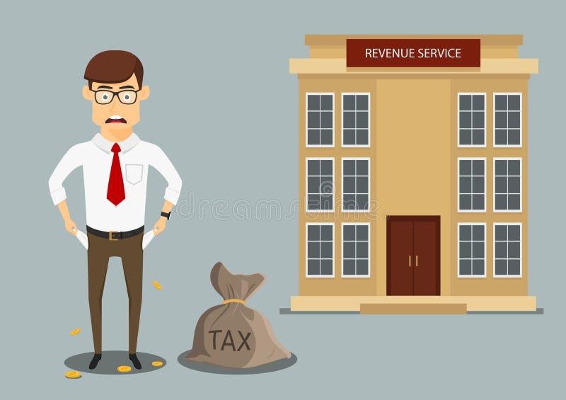 Homme d'affaires avec les poches vides après le paiement des impôts illustration stock