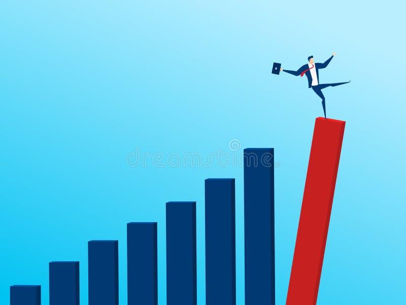 Homme d'affaires avec tomber vers le bas graphique de tendance Concept de faillite Faillite commerciale illustration libre de droits