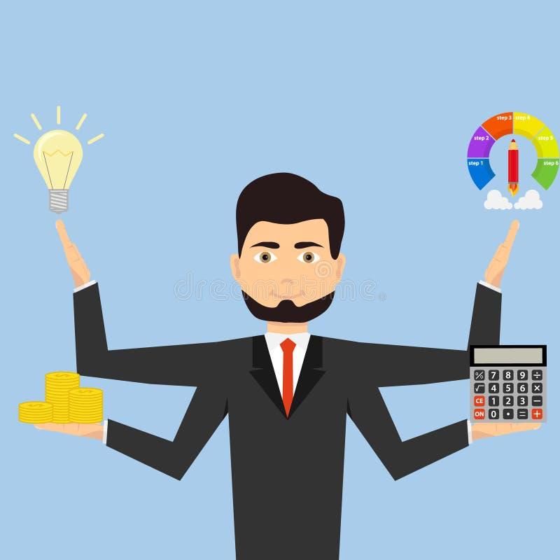 Homme d'affaires avec un bon nombre multitâche de bras faisant de diverses tâches de bureau illustration libre de droits