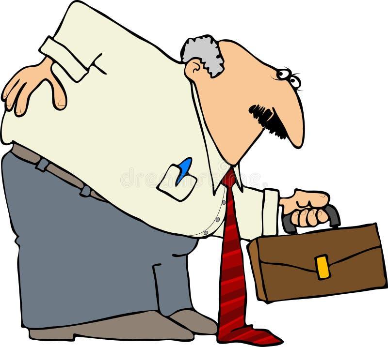 Homme d'affaires avec un dos du mauvais illustration libre de droits
