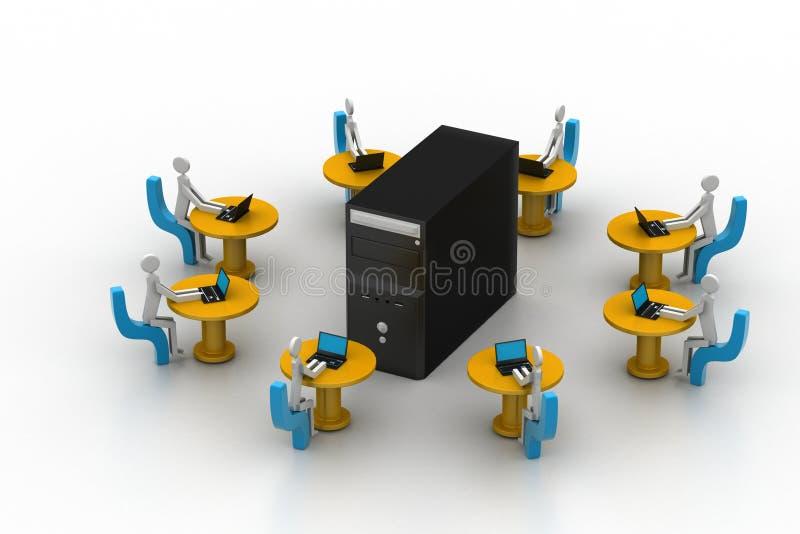 Homme d'affaires avec un ordinateur portable se reposant à une table ronde. illustration stock