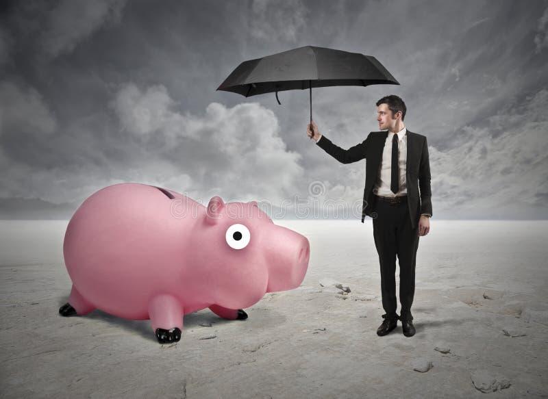 Homme d'affaires avec un parapluie images libres de droits