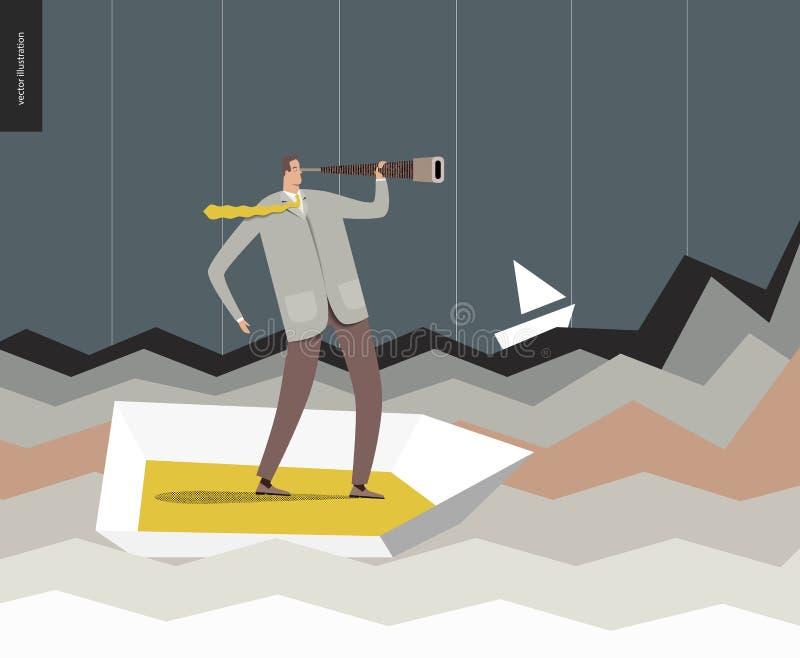 Homme d'affaires avec un télescope dans le bateau illustration libre de droits