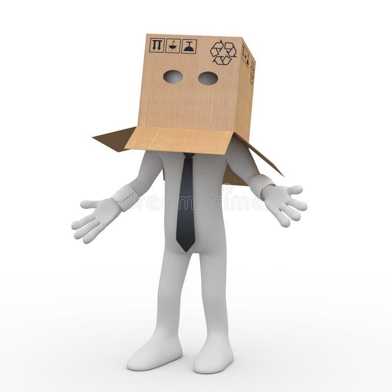 Homme d'affaires avec une boîte en carton au-dessus de sa tête illustration libre de droits