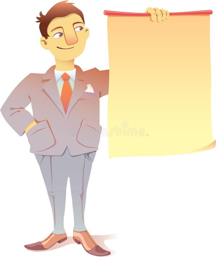 Homme d'affaires avec une plaquette illustration stock