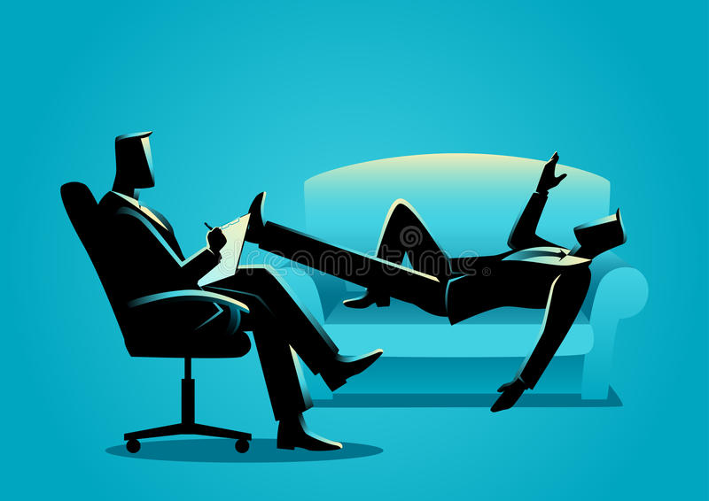Homme d'affaires ayant une thérapie avec le psychologue illustration de vecteur