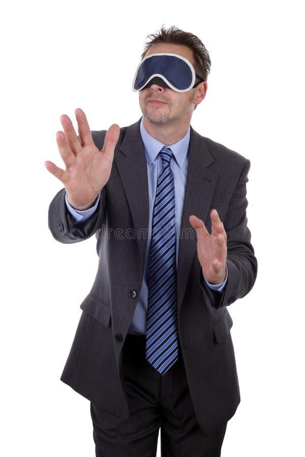 Homme d'affaires bandé les yeux photo stock
