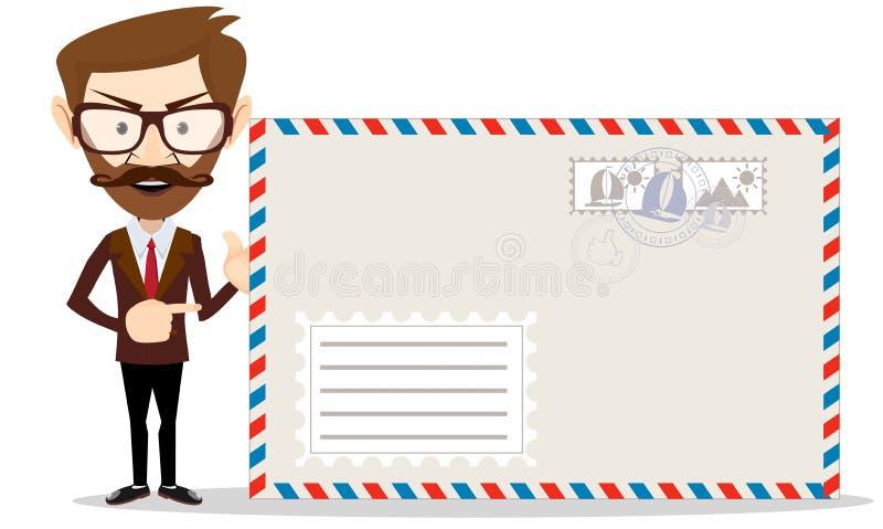 Homme d'affaires barbu bel dans le costume formel tenant une enveloppe illustration stock