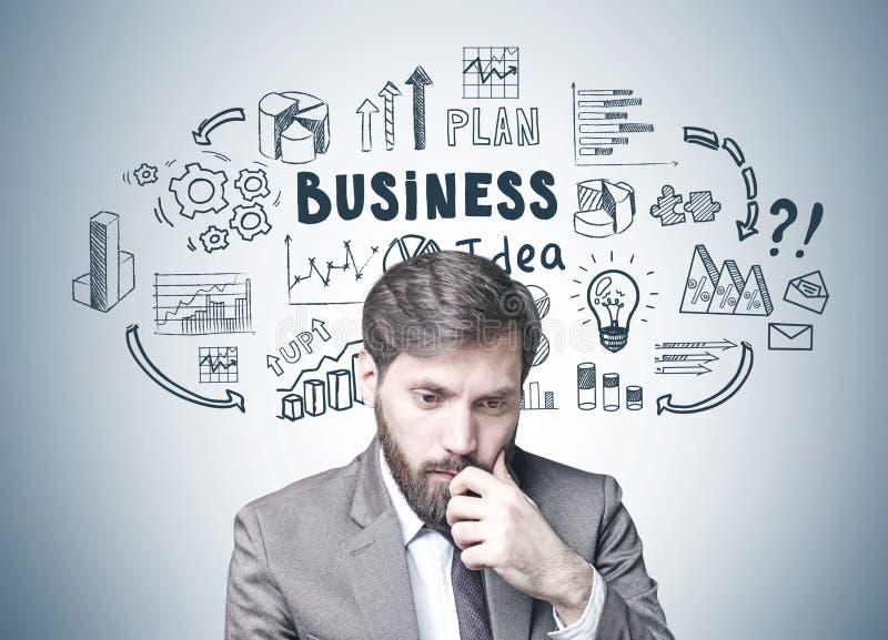 Homme d'affaires barbu dans le doute, idée d'affaires images stock