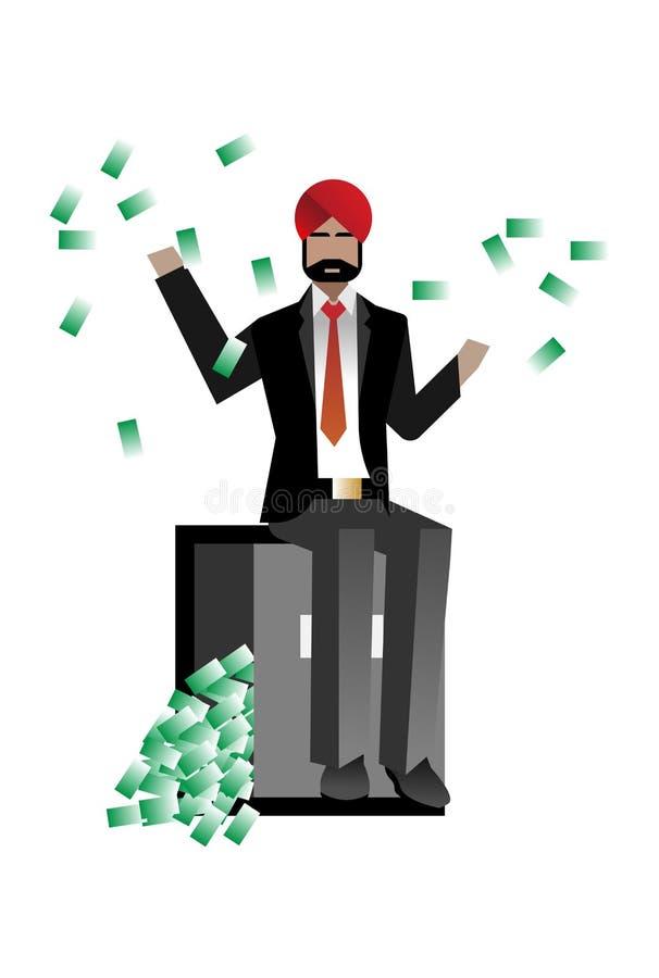 Homme d'affaires barbu indien s'asseyant sur le coffre-fort de banque illustration stock