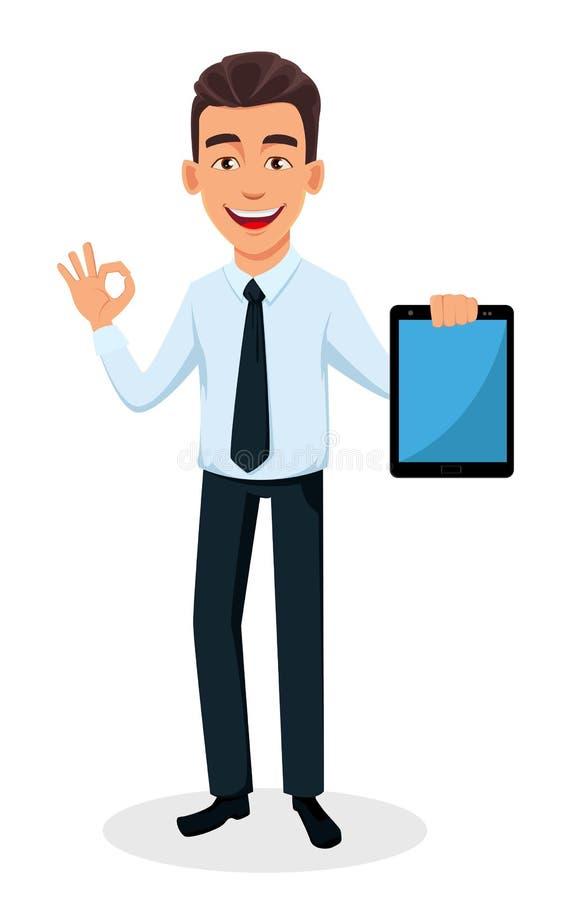 Homme d'affaires bel dans des vêtements de style de bureau illustration de vecteur
