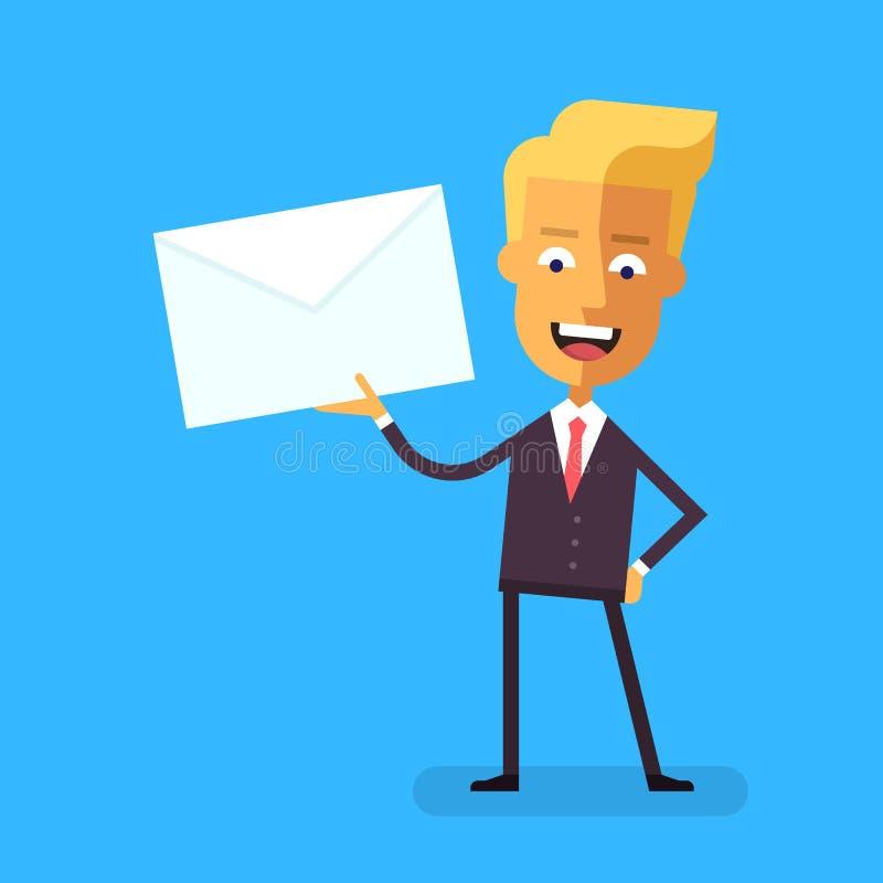 Homme d'affaires bel dans le costume formel parlant tenant une enveloppe avec une lettre illustration libre de droits