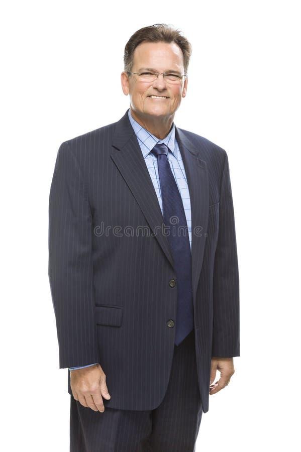 Homme d'affaires bel de sourire Portrait sur le blanc photo stock