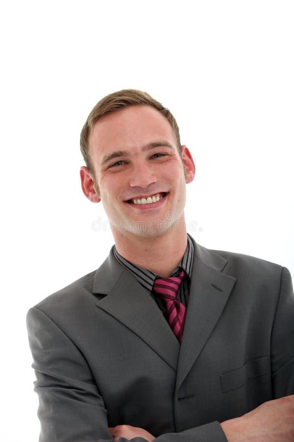 Homme d'affaires bel sûr de sourire images stock