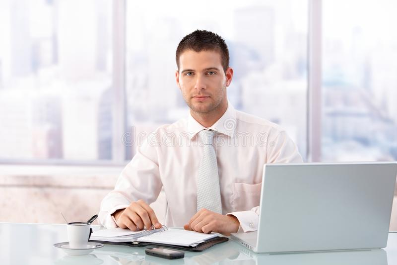 Homme d'affaires bel s'asseyant au bureau dans le bureau photos stock