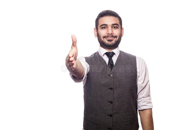 Homme d'affaires bel sur le fond blanc image stock
