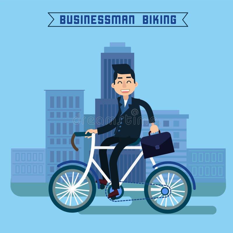 Homme d'affaires Biking Homme d'affaires conduisant une bicyclette illustration de vecteur