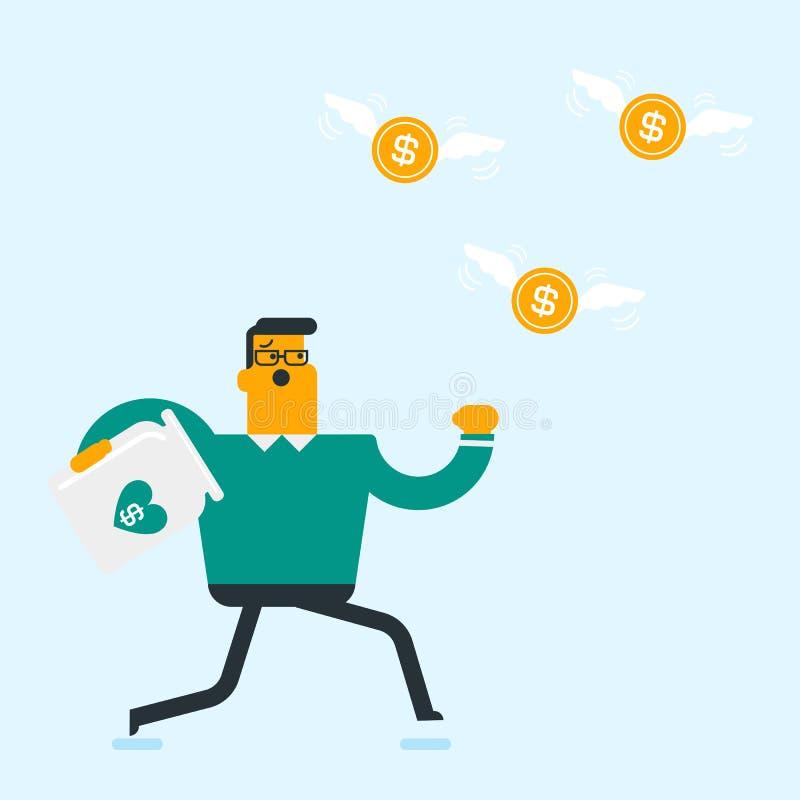 Homme d'affaires blanc caucasien essayant d'attraper des pièces de monnaie illustration stock
