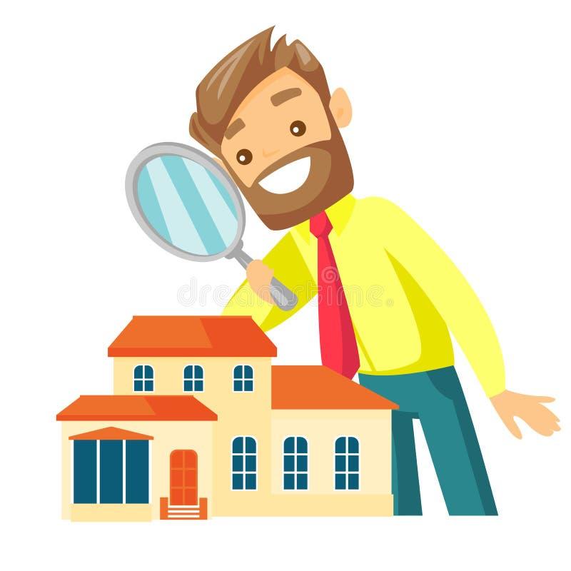 Homme d'affaires blanc caucasien recherchant la maison illustration de vecteur