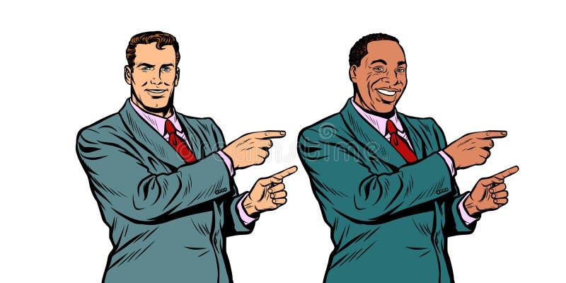 Homme d'affaires blanc et noir dirigeant le doigt en longueur illustration libre de droits