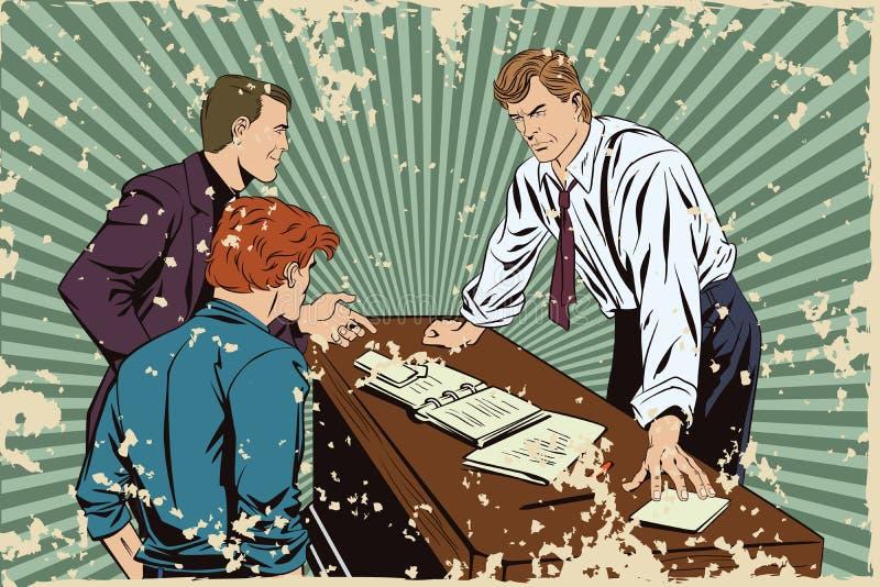 Homme d'affaires Bossage et subalternes Version grunge illustration stock