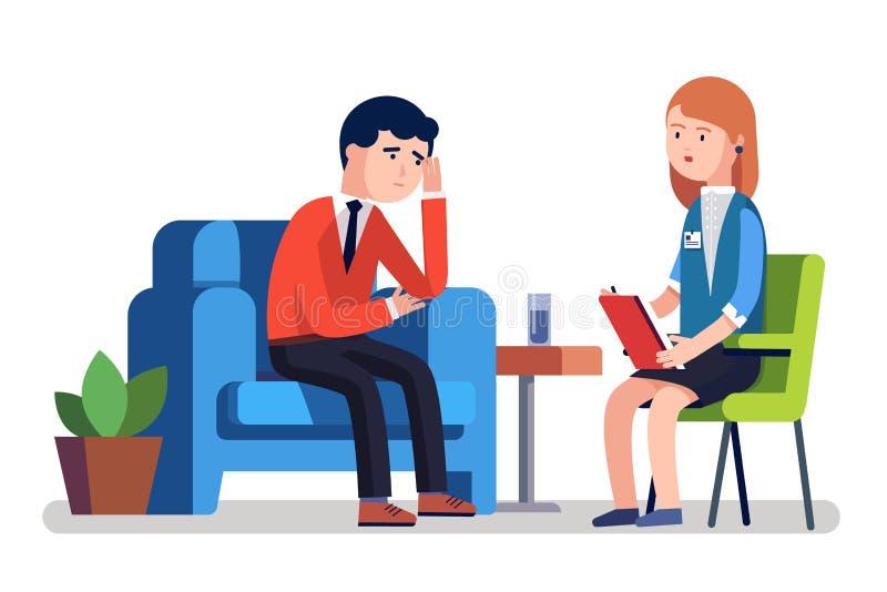 Homme d'affaires cassé parlant au psychologue illustration de vecteur