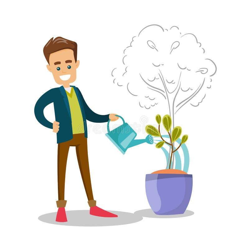 Homme d'affaires caucasien arrosant le petit arbre croissant illustration stock