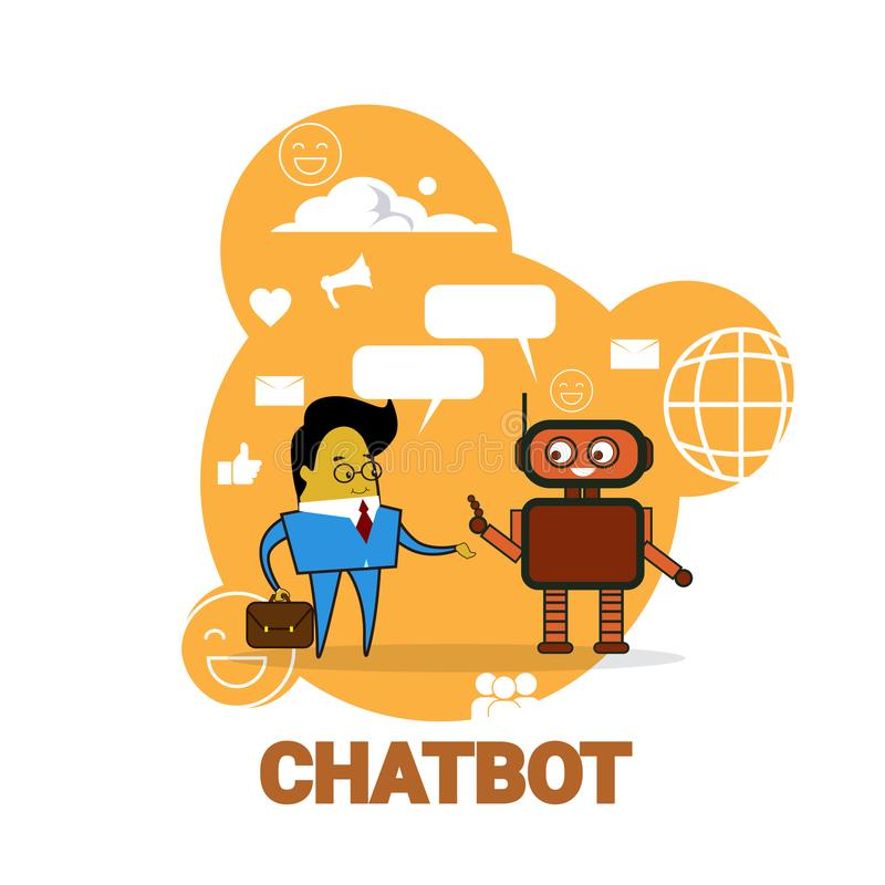 Homme d'affaires causant avec le concept moderne de technologie de soutien de robot de Bot de broutement d'icône de Chatbot illustration de vecteur