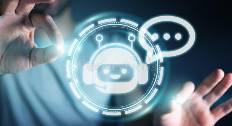 Homme d'affaires causant avec le rendu de l'application 3D de chatbot illustration libre de droits